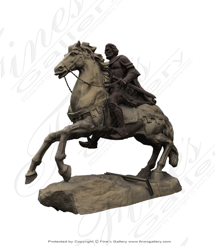 Bronze Statues  - Cast Iron Horse And Rider - BS-1534