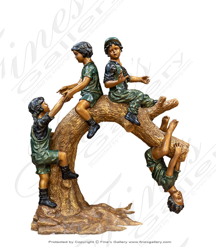 Bronze Statues  - Bronze Kids On Log Statue - BS-1535