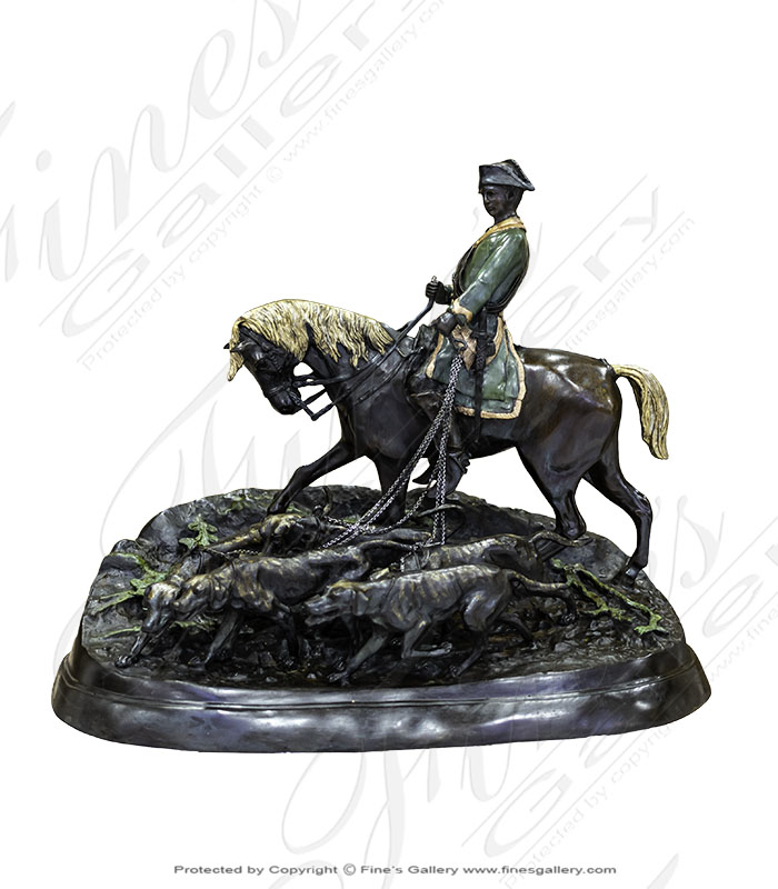Bronze Statues  - Bronze Horse, Rider With Hounds Statue - BS-155