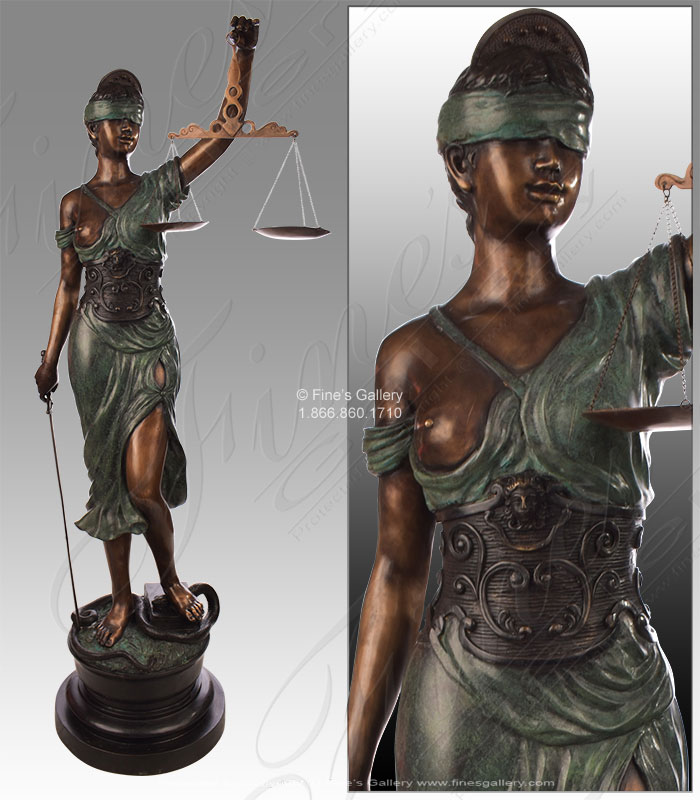 Bronze Lady of Justice Statue
