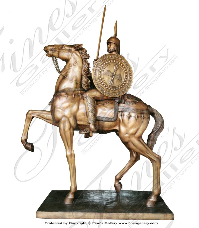 Bronze Statues  - Bronze Medeival Horse And Soldier - BS-1568
