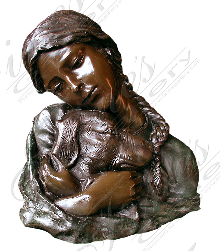 Bronze Girl with Dog Statue