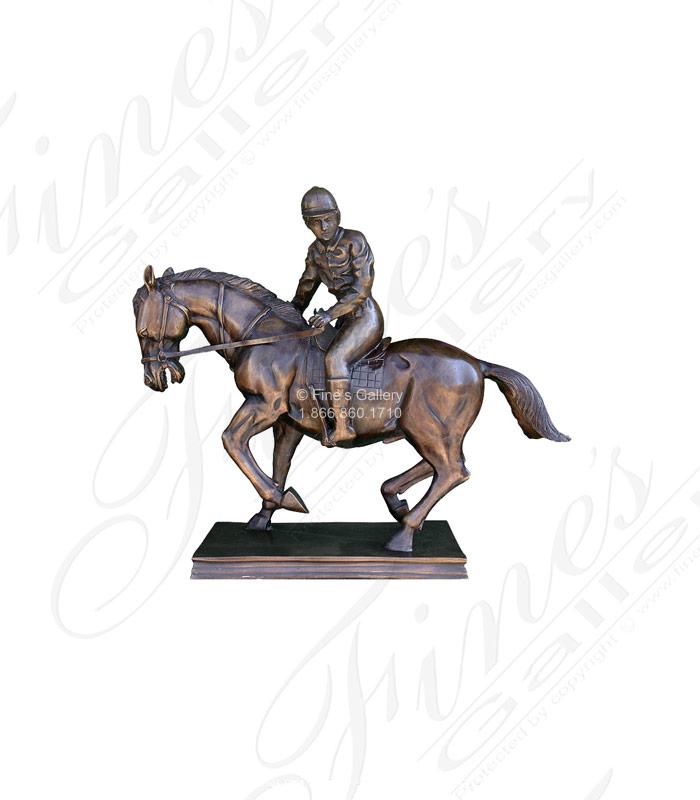 Bronze Statues  - Bronze Horse And Jockey Statue - BS-158