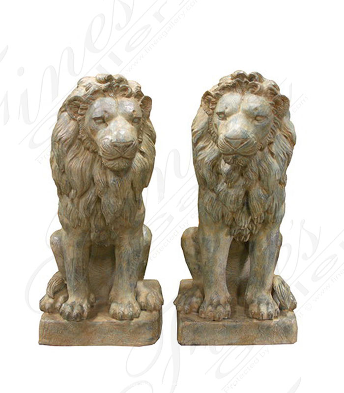 Antique Patina Seated Bronze Lion Pair