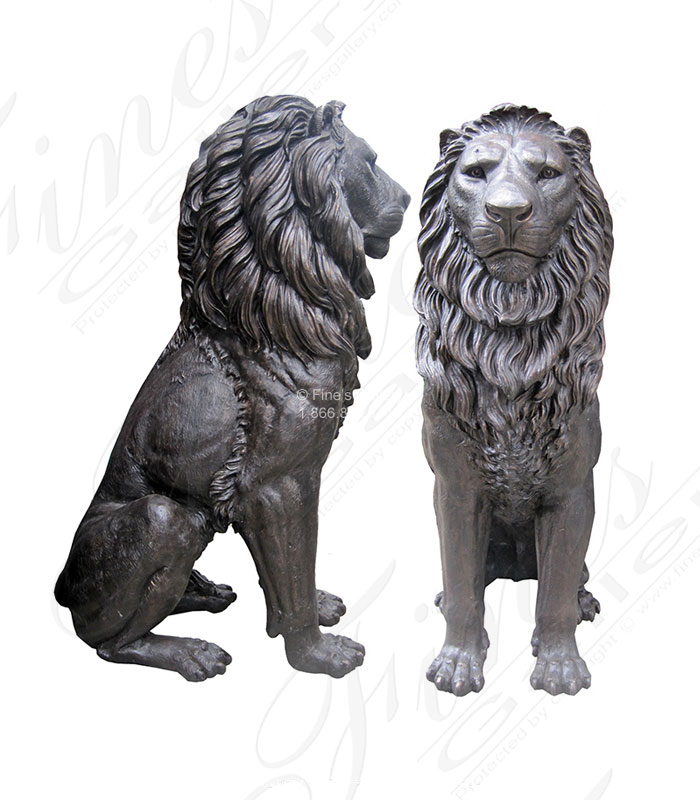 Oversized Bronze Lion Pair