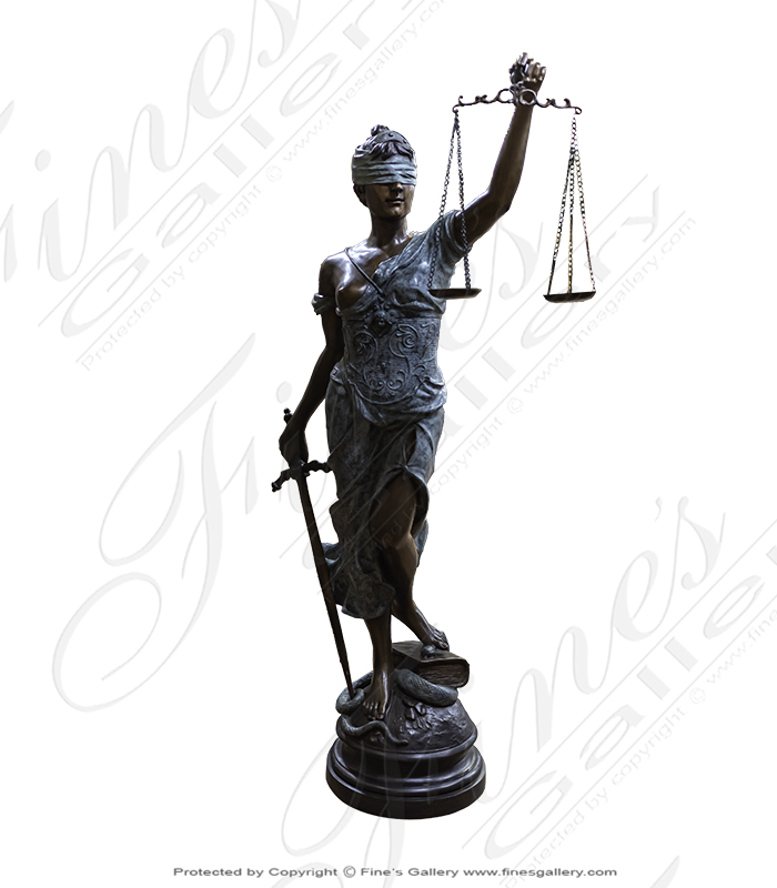 84 Inch Tall Lady of Justice in Bronze