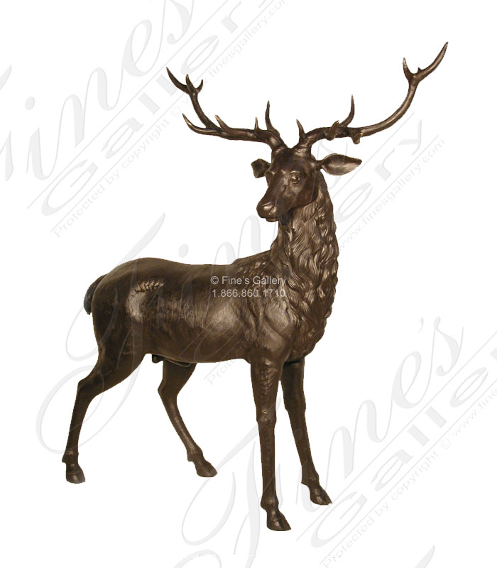 68 Inch Bronze Elk Statue