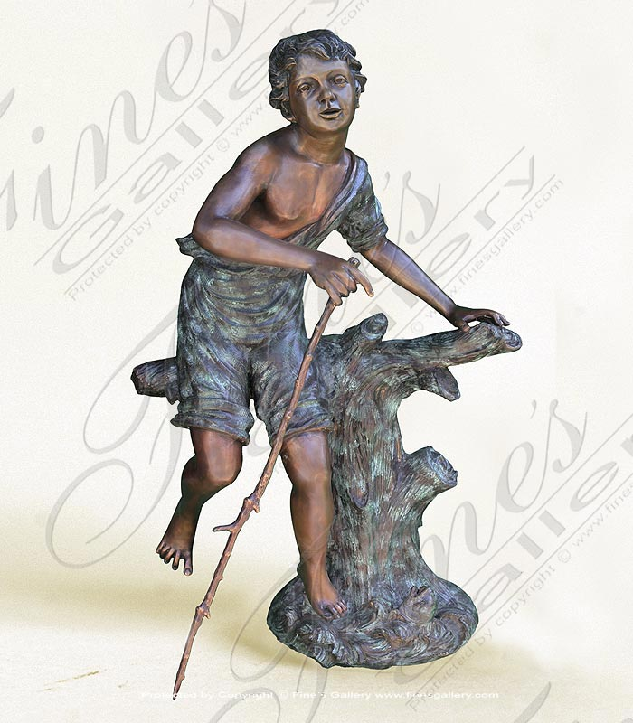 Bronze Boy Playing Statue