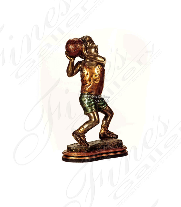 Young Basketball Player Bronze Statue