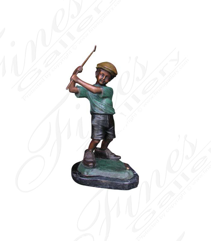 Bronze Boy Golfer Statue