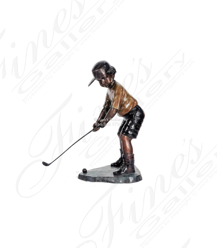 Bronze Statue of Young Golfer