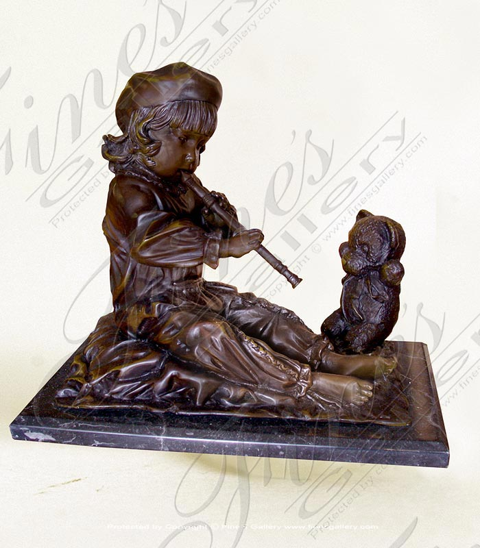 Child with Teddy Bear Bronze Statue
