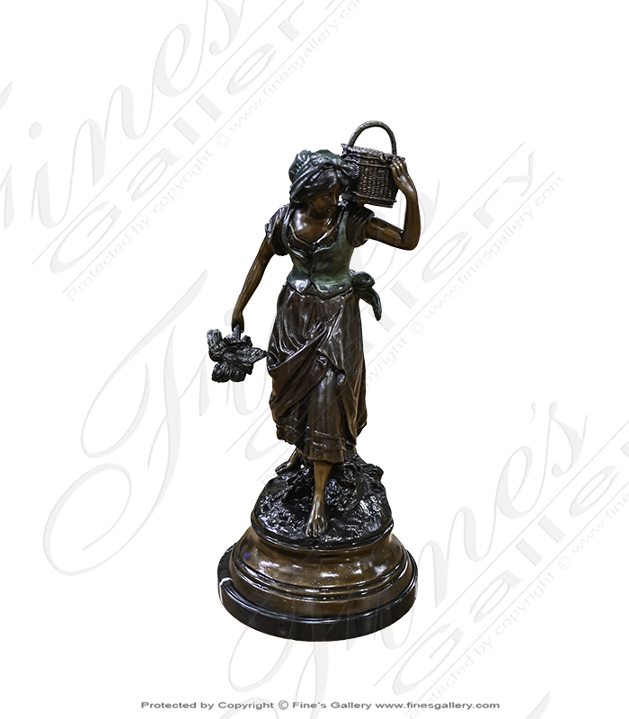 Young Girl Carrying Basket Bronze Statue