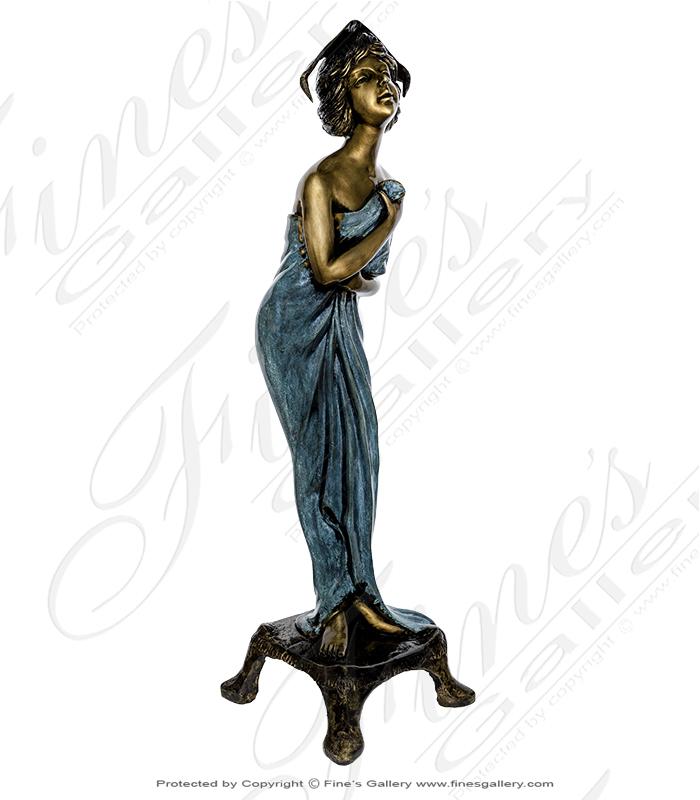 Bronze Statues  - Bathing Miradi Female Statue - BS-217