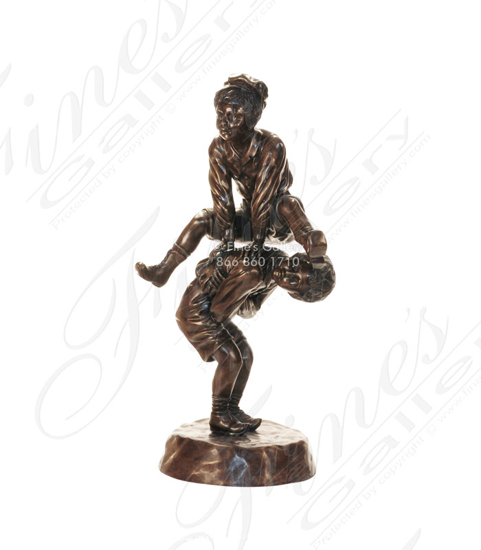 Bronze Statue of Children Leap Frogging