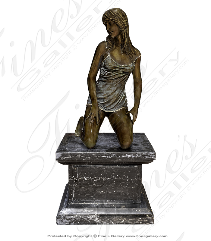 Bronze Statues  - Bronze Lady Kneeling Statue - BS-315