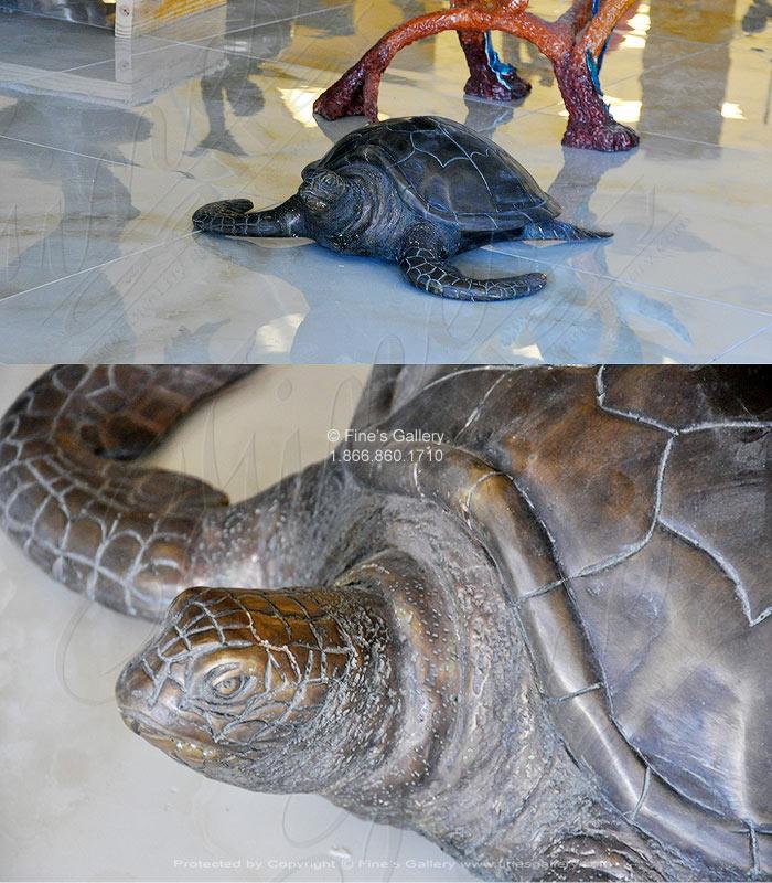 Bronze Statues  - Classic Bronze Sea Turtle - BS-335