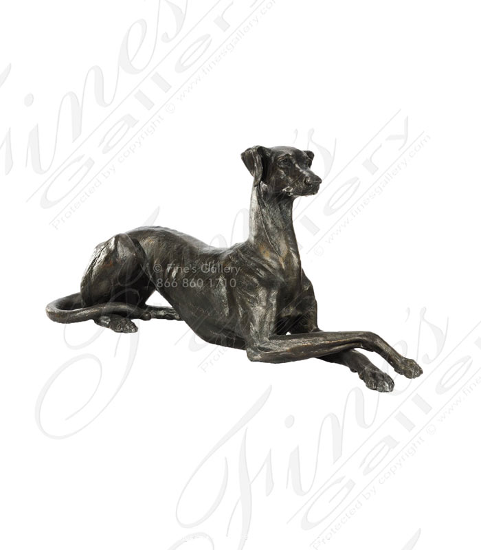 Bronze Lounging Whippet Statue Pair