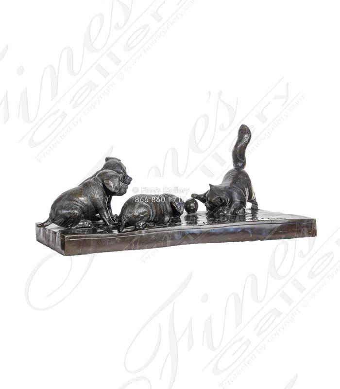 Three Puppies at Play Bronze Statue