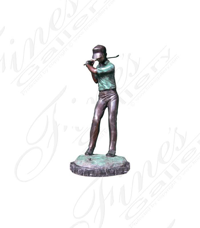 Bronze Statues  - Young Golfer Bronze Statue - BS-406
