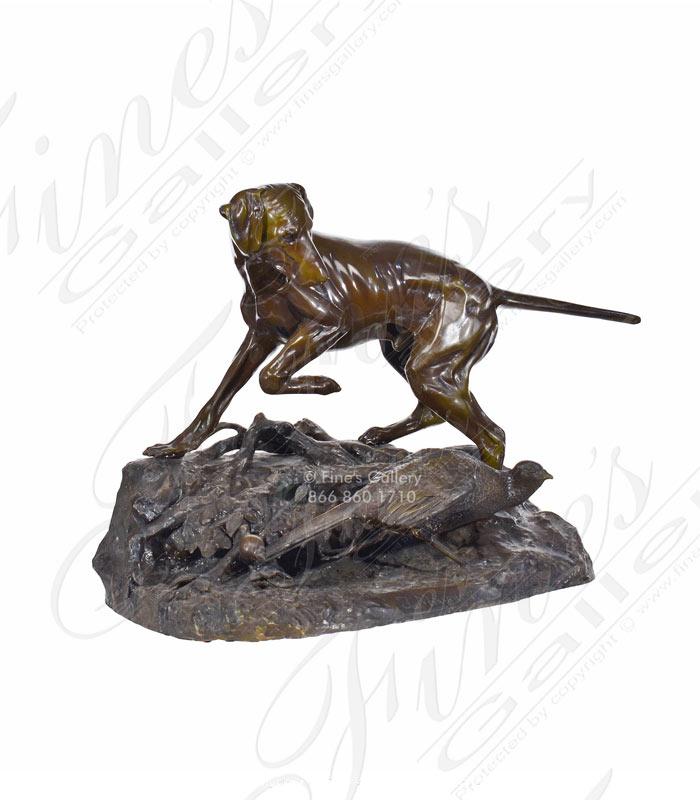 Bronze Hunting Dog with Bird Statue