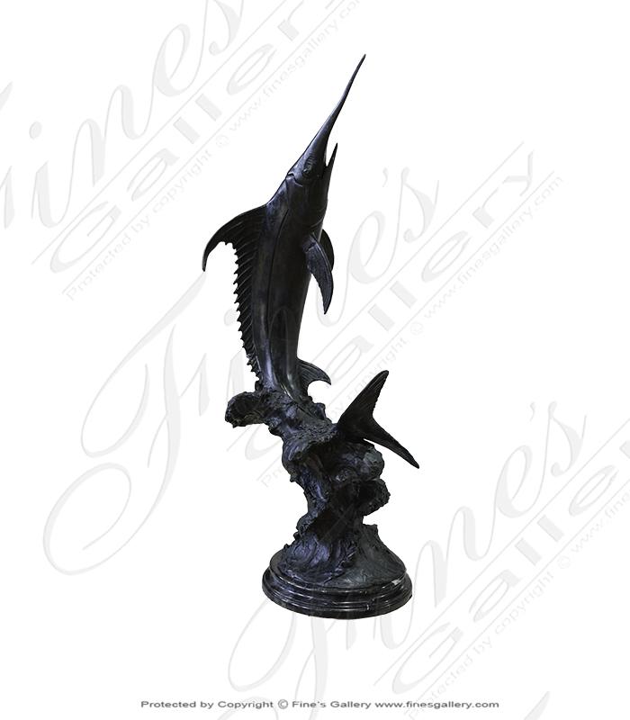 Bronze Statues  - Breaching Marlin Bronze Statue - BS-822