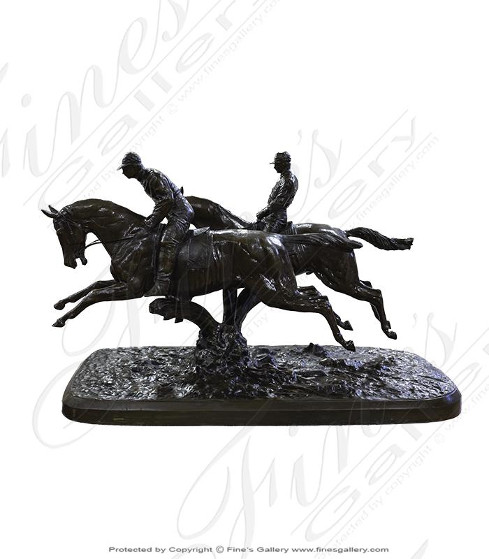 Two Horse Riders Bronze Statue