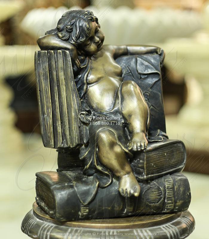Bronze Statues  - Slumber In The Library Bronze Statue - BS-846