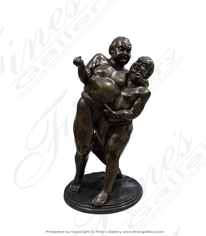 Bronze Sumo Wrestlers Statue