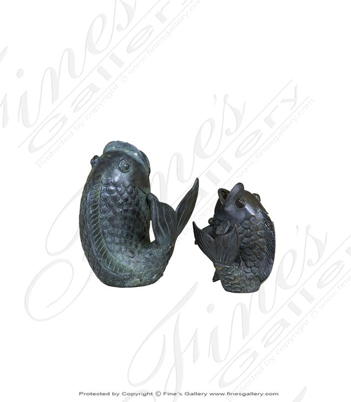 Bronze Statues  - Green Fish Bronze Statue - BS-863