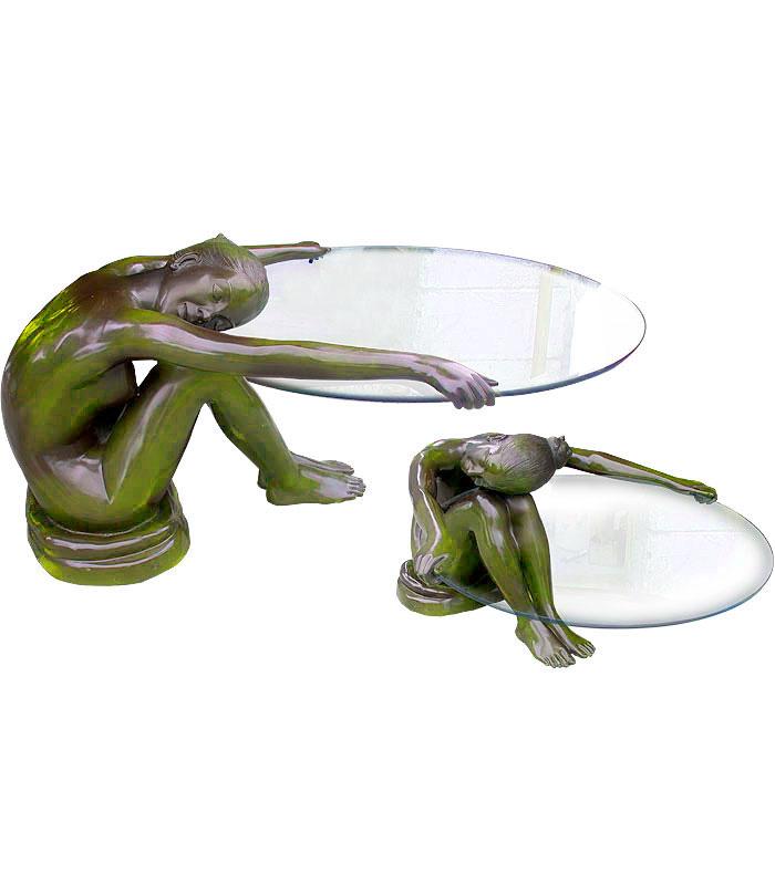 Bronze Tables  - Graceful Nude Bronze Table - BT-1174