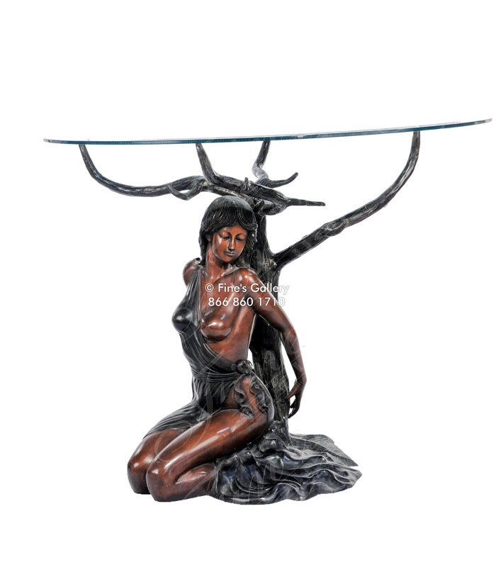 Partially Nude Female Bronze Table