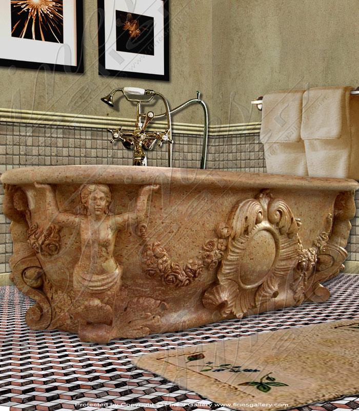 Marble Kitchen and Baths  - Ornate Marble Bath Tub - KB-045