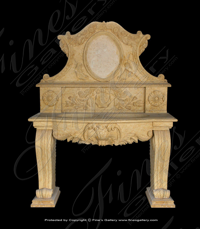 Marble Kitchen and Baths  - Gold Marble Double Sink Vanity - KB-097
