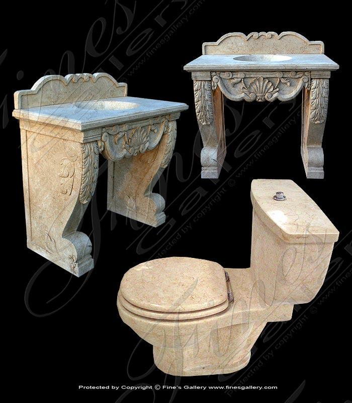 Cream Marble Sink & Toilet Set