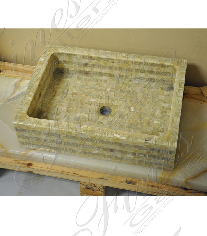 Marble Kitchen and Baths  - Elegant Square Onyx Sink  - KB-142
