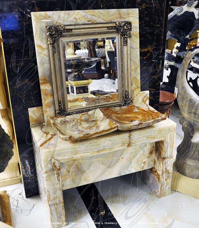 Marble Kitchen and Baths  - Onyx Vanity With Backsplash - KB-167