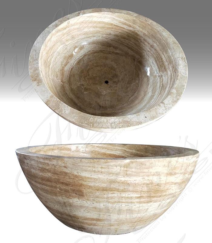 Marble Kitchen and Baths  - Round Roman Beige Marble Tub - KB-335