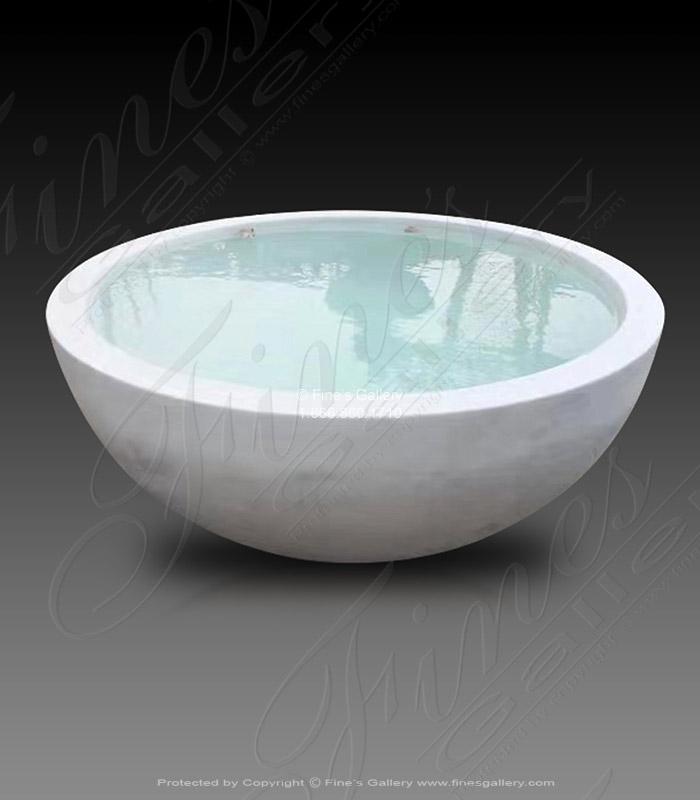 Marble Kitchen and Baths  - Statuary White Round Marble Bathtub - KB-336