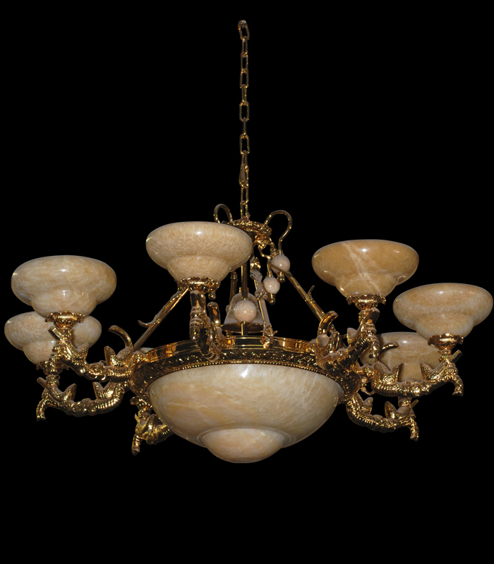 Lighting Chandeliers  - Onyx And Gold Plating Chandelier - LC-140