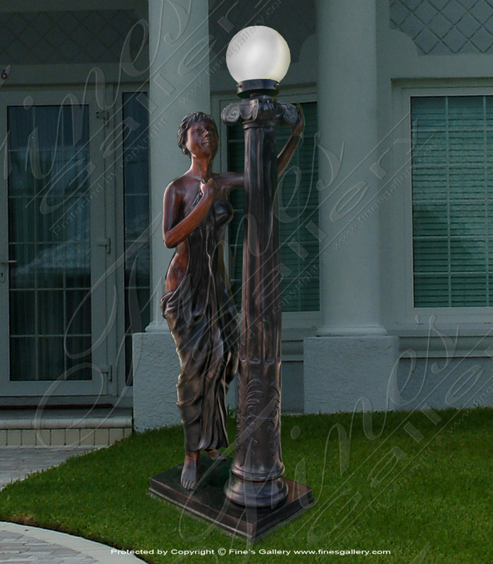 Lighting Lamposts  - Lady Waiting Bronze Lamp Post - LMP-003