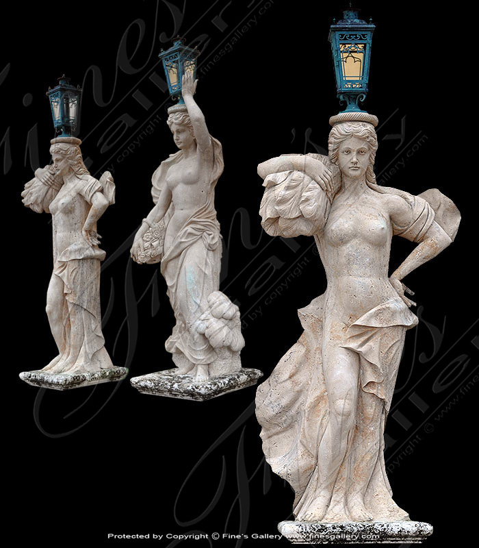 Lighting Lamposts  - Antique Marble Lamp Post - LMP-018
