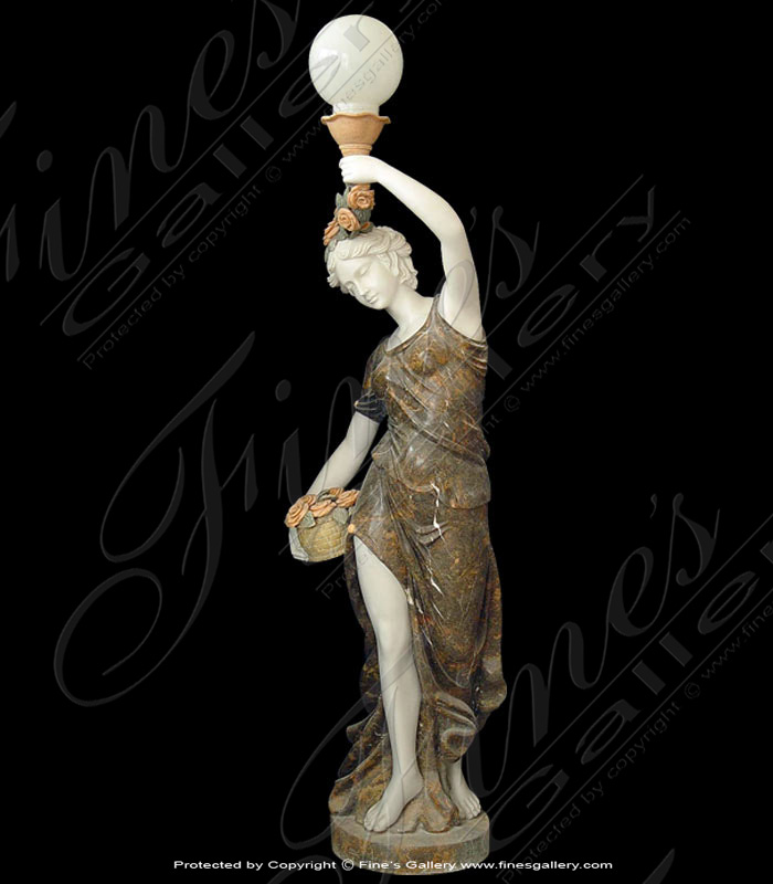 Lighting Lamposts  - Marble Lamp Post Woman - LMP-019