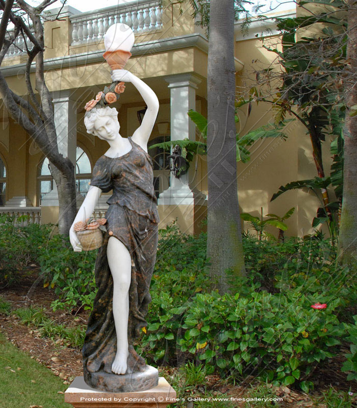 Lighting Lamposts  - Marble Lady With Lamp Post - LMP-022