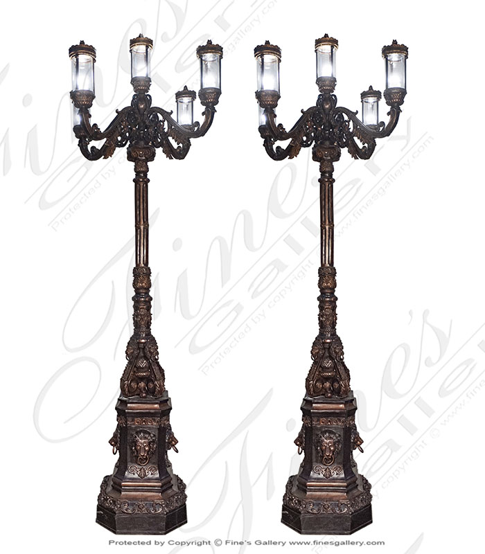 Lighting Lamposts  - Regal Lion Head Themed Lamp Post - LMP-035