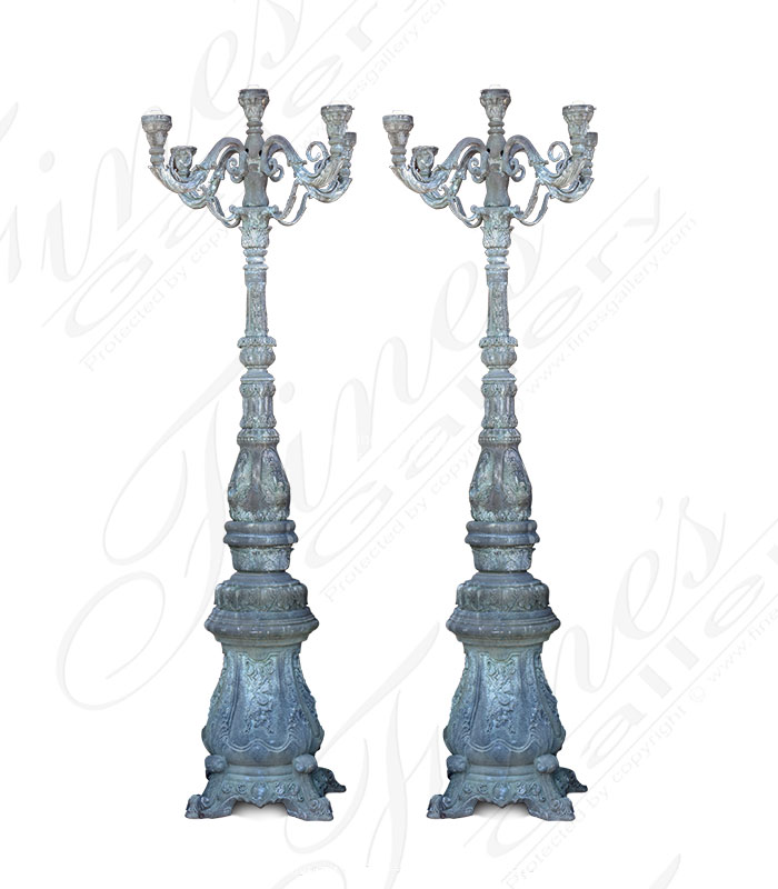 Patina Bronze Lamp Post Pair