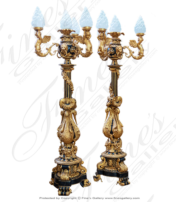 Luxurious French Lamp Post Pair