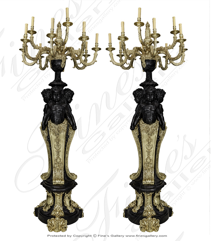 Stunning Pair of Gold Gild Cherub Chandelier Stands