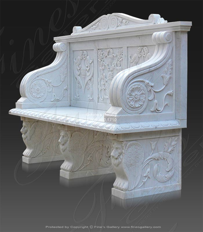 White Marble Cherub Scenery Bench