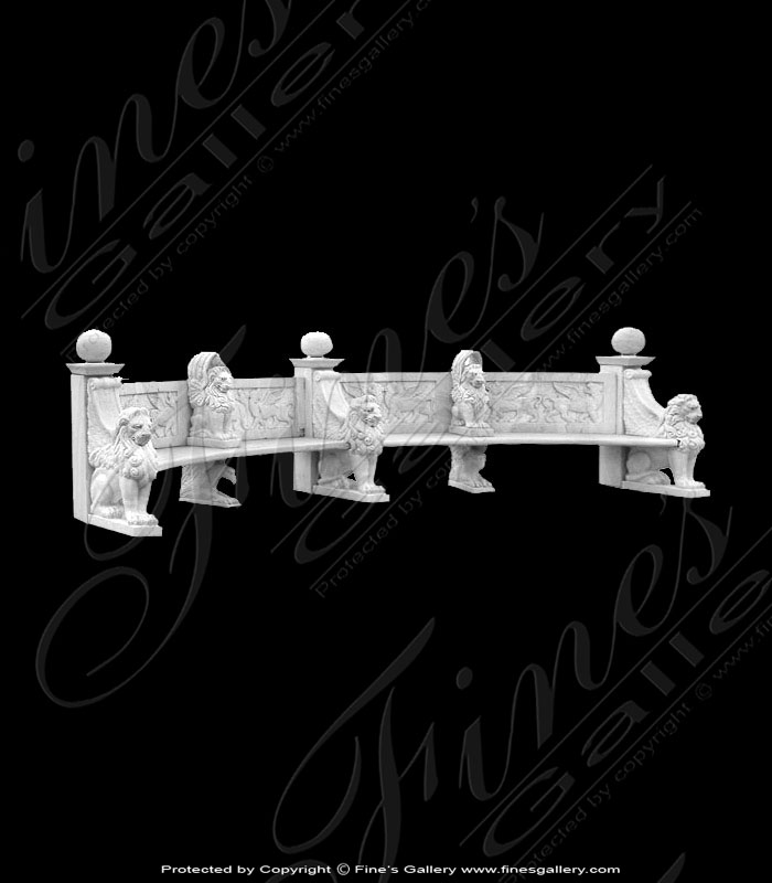 Marble Benches  - Lion Head Bench - MBE-131